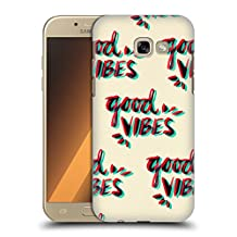 Official Cat Coquillette Good Vibes Red Cyan Quotes Typography 4 Hard Back Case for Samsung Galaxy A5 (2017)