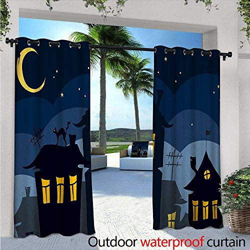 (Halloween Fashions Drape W72 x L96 Old Town with Cat on The Roof Night Sky Moon and Stars Houses Cartoon Art Outdoor Curtain Waterproof Rustproof Grommet Drape Black Yellow)