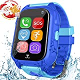 Kids Smart Watch Phone GPS Tracker for Boys Girls with SIM Card Slot Sport FitnessTracker with Pedometer SOS Camera Wrist Watch Waterproof IP67 for Christmas Birthday Gifts (Blue)