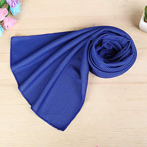 Apelila Instant Cooling Towel Ice Cold Outdoor Activities Sport Pad Gym Running Jogging Chilly Yoga (1 PC D- Blue)