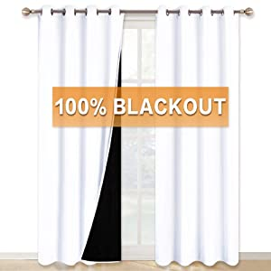 RYB HOME White Curtains 108 inches Long, 2 Layers Blackout Curtains with Black Liner Farmhouse Curtains for Living Room Foyer Cabin Sliding Glass Door Blinds, 52 inches Wide x 108 inches Long, 2 Pcs