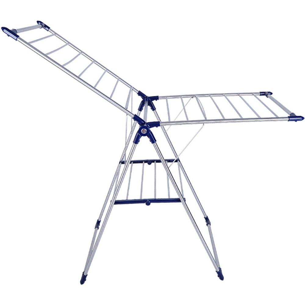 物干しラック 翼折りたたみ衣類アイレアランドリー乾燥ラック多機能エアードライヤーステンレス鋼管 (色 : 青) B07DNQ1594 青
