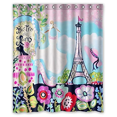 Funny Girls Bathroom Shower CurtainDressed Beautiful And Meet In Eiffel Tower Polyester Fabric Waterproof