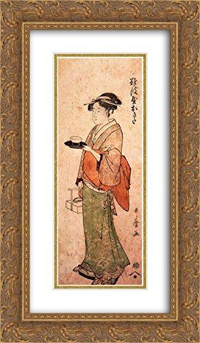 Kitagawa Utamaro 2X Matted 14x24 Gold Ornate Framed Art Print 'Okita The Tea House Girl'