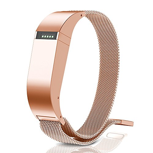 ANCOOL Compatible Fibit Flex Bands Stainless Steel Magnetic Closure Milanese Sports Wristband Compatible Fitbit Flex Tracker(NOT Compatible FELX 2) - Large Rosegold