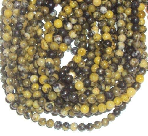 GR192 Yellow Turquoise 4mm Round Gemstone Beads 16'' Crafting Key Chain Bracelet Necklace Jewelry Accessories Pendants