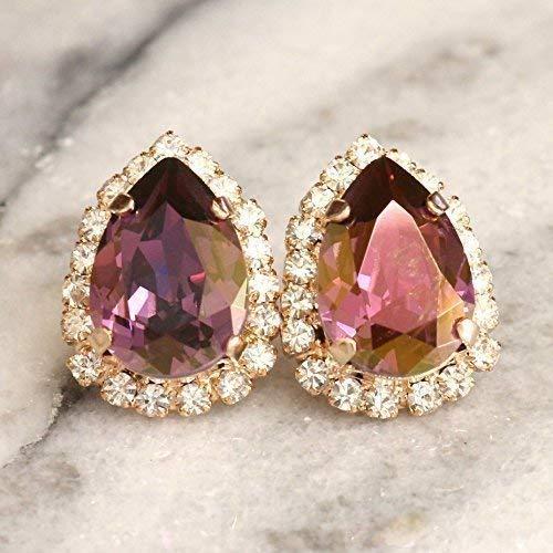 ee1a9162b Swarovski Earrings, Bridal Purple Gemstone Studs, Teardrop Large Statement Gold  Earrings, Crystal Wedding and Party Elegant Jewelry, Handmade Designer ...
