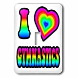 3dRose lsp_217438_1 Groovy Hippie Rainbow I Heart Love Gymnastics - Single Toggle Switch