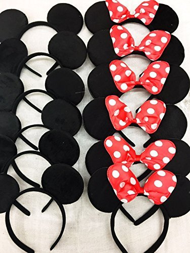 12 pc Mickey Mouse Ears Solid Black and Bow Minnie Headband for Boys and Girls Birthday Party (USA -