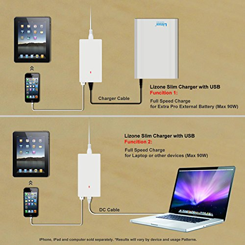 Lizone Extra Pro 40000mAh superb Capacity lightweight External Battery Adapter Charger for Apple MacBook Air MacBook Pro MacBook PowerBook and iBook HP Compaq Pavilion minuscule ElifeBook ProBookPresario Envy and G IBM Lenovo ThinkPad and IdeaPad USB Port for iPad Air iPad miniiPad and iPhone Samsung Galaxy Nexus MOTO G LG HTC and extra compact aluminum UniBody 18 Months warrantee Silver 40000mAh Laptop Netbook Computer Accessories