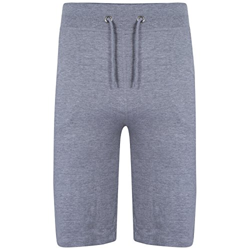 Para hombre Plain 3/4 Pantalones cortos y con parte delantera plana para hombre Casual Summer con bolsillos algodón pantalones cortos de gris