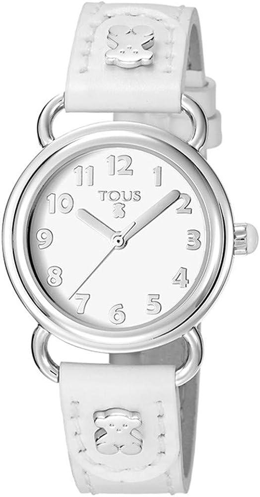 Reloj Baby Bear de acero con correa de piel blanca Ref:500350175