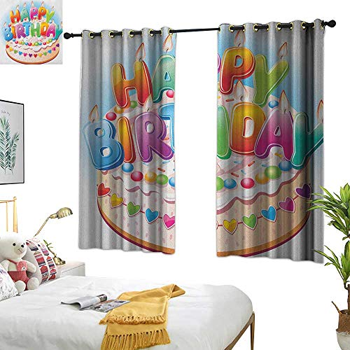 Long Curtains Kids Birthday,Cartoon Style Happy Birthday Party Image Cake Candles Hearts Design Print, Multicolor 72