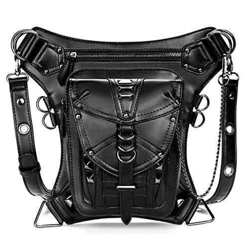 Rullar Waterproof Waist Bag Tactical Drop Leg Bag Outdoor Bike Cycling Hiking Fanny Pack Hip/Thigh Bag Pouch Shoulder Crossbody Bag Black