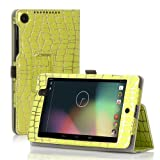 TNP Google Nexus 7 FHD 2nd Gen Case (Gold Stripe Green) - Slim Fit Synthetic Leather Folio Case Stand with Smart Cover Auto Sleep Wake Feature and Stylus Holder for Google Nexus 2 7.0 Inch 2013 Tablet