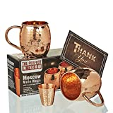 "Moscow Mule Copper Mugs - Hammered Design - 100% Copper Mugs ""Set of 2"" With Free Shot Glass - The Perfect Moscow Beer Mug Gift Set"