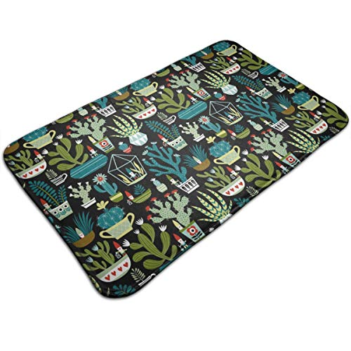 Bath Mat, Doormat Floor Mat, Memory Foam Throw Bath Rugs - Non Skid Fast Dry Entryway Mat for Bath Room - Gnomes Succulents Cactus Cacti Terrarium Bathroom Hotel Spa Floor Mats