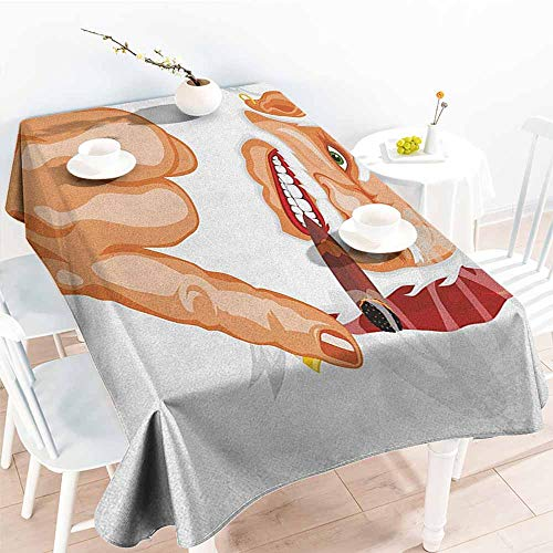 Water Resistant Table Cloth,Christmas Santa Claus Making Mouse Rocker Gesture Smoking A Cigar Noel Humor Celebration,Table Cover for Kitchen Dinning Tabletop Decoratio,W54x72L, Multicolor (Special Cigars Jamaican)