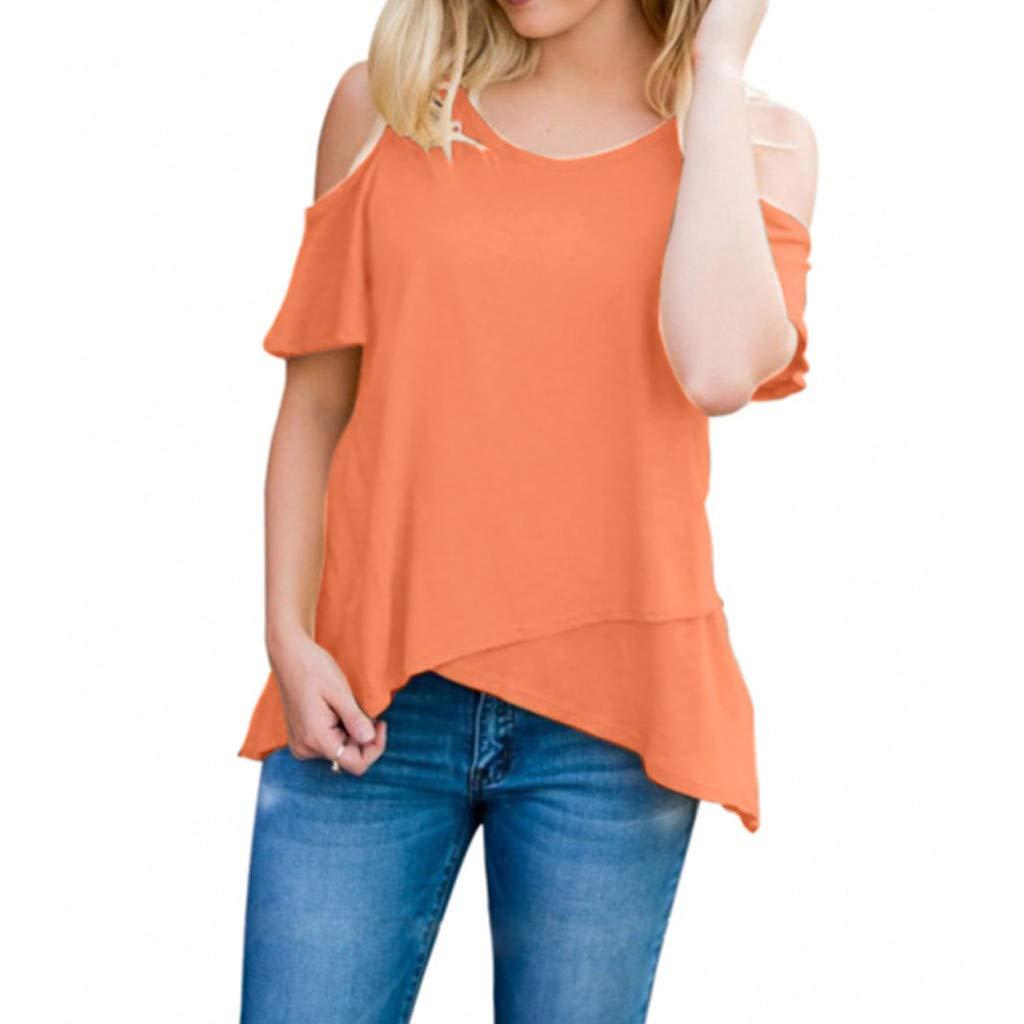 Kiminana Blouses for Women,Women's Short Sleeve Casual Cold Shoulder Tunic Tops Loose Blouse Shirts Orange