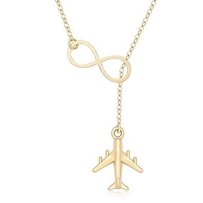 Amazon.com: MANZHEN - Collar con infinito diseño de avión y ...