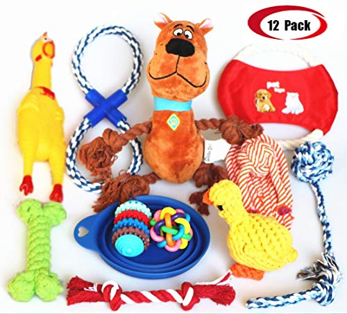 (Jomilly Dog Cat Toys Full Set 12 Pcs, Puppy Plush Toys Ball Rope Durable Pet TeethingShrilling Chicken Chew Toy Multi Pattern for Small Medium Dogs)