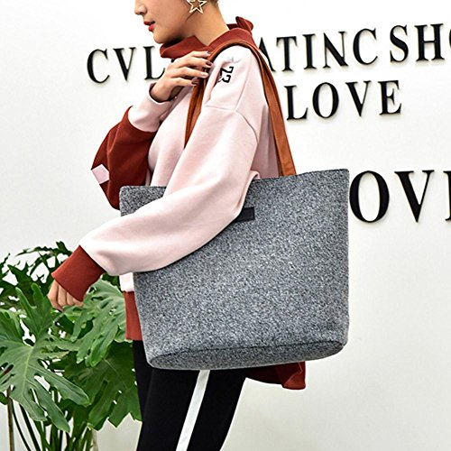 Women Totes Widewing Grey Handbag Canvas Casual Bags Large Beach Shopping Shoulder TAAdzg