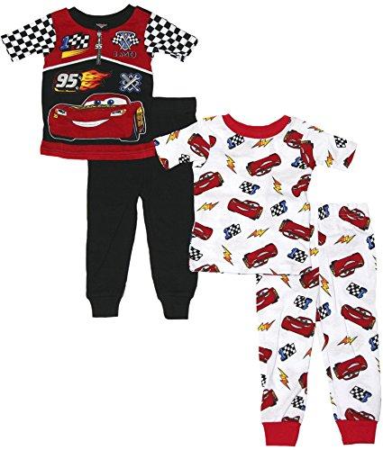 Disney Toddler Boys Cars 4-Piece Pajama Set (Multi, 2T)