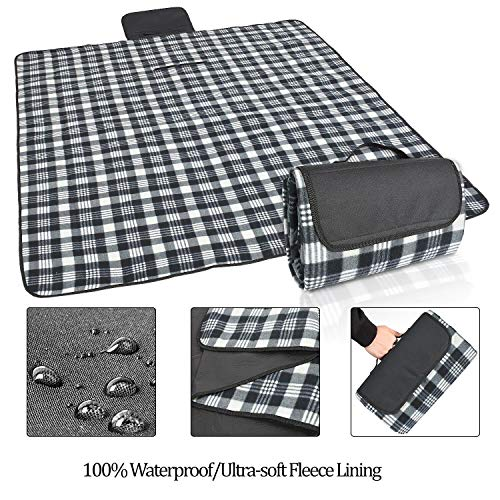 (Waterproof Blanket Fleece Beach Mat Outdoor Blanket Tote with Soft Fleece and Padding Perfect for Picnic, Beach, Traveling, Camping, Hiking, Black Plaid)