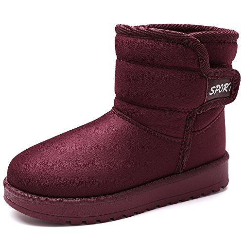 VILOCY Girl's Boy's Winter Outdoor Snow Boots Suede Slip-On Full Fur Lined Warm Ankle Shoes Red,36 by VILOCY (Image #1)