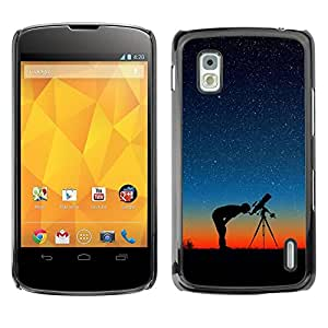 Caucho caso de Shell duro de la cubierta de accesorios de protección BY RAYDREAMMM - LG Google Nexus 4 E960 - Telescope Night Sky Stars Man Profile Sunset