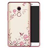Loxx Soft TPU Silicone Auora Flower Back Cover Case With Sparkle Swarovski Crystals For Xiomi Redmi Note 4 (Rose Gold)