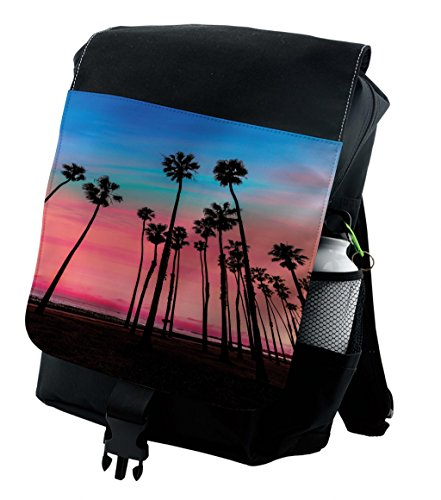 Santa Barbara Backpack - Lunarable Palm Tree Backpack, Santa Barbara Holiday, Durable All-Purpose Bag