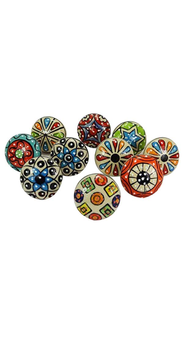Ordinaire Dorpmarket 10 Pieces Set Dotted Ceramic Cabinet Colorful Knobs Furniture  Handle Drawer Pulls
