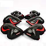 Lucun Kids Adult Protective Gear Set, Knee Pads Elbow Pads Wrist Guards 6 pcs for Multi Sports Skateboard Inline Roller Skates Cycling BMX Bicycle,Black,L
