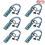 QNINE PCIe Riser Card (6 Pack), PCI Express GPU 1X to 16X Extender, Mining Graphics Card USB 3.0 Extension & 6pin MOLEX to SATA Power Cable for Ethereum Bitcoin Litecoin Ubit Device