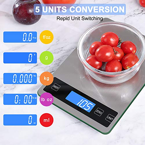Rechargeable Digital Food Scale, 22lb/10kg Kitchen Scale for Cooking Baking, 1g/0.1oz Precise Graduation, 5 Units, Stainless Steel Surface and Tempered Glass Big Panel and Large Backlit LCD Display
