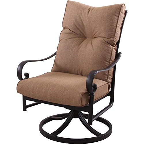 (K&B PATIO LD600-11 Santa Anita Swivel Rocker Dining Chair, Antique Bronze)