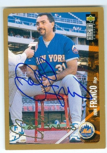 John Franco autographed baseball card (New York Mets) 1996 Upper Deck #220 Gold Signature Edition - MLB Autographed Baseball Cards