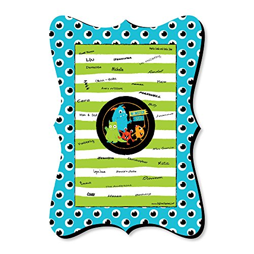 Big Dot of Happiness Monster Bash - Unique Alternative Guest Book - Little Monster Birthday Party or Baby Shower Signature Mat -
