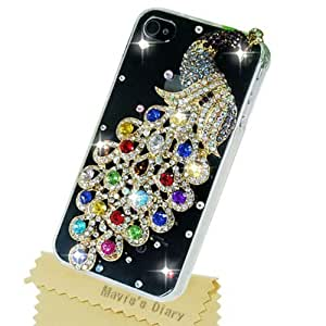 Mavis's Diary HOT Colorful Peacock Bling Crystal Diamond Transparent Case Cover for Apple Iphone 4 4s with Soft Clean Cloth