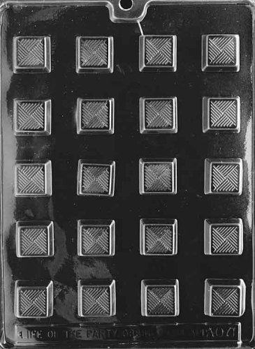 Cybrtrayd Life of the Party AO071 Traditional Square Chocolate Candy Mold in Sealed Protective Poly Bag Imprinted with Copyrighted Cybrtrayd Molding Instructions