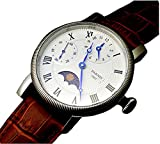 Parnis 43mm Moonphase Hand winding Mechanical Mens Wrist Watch
