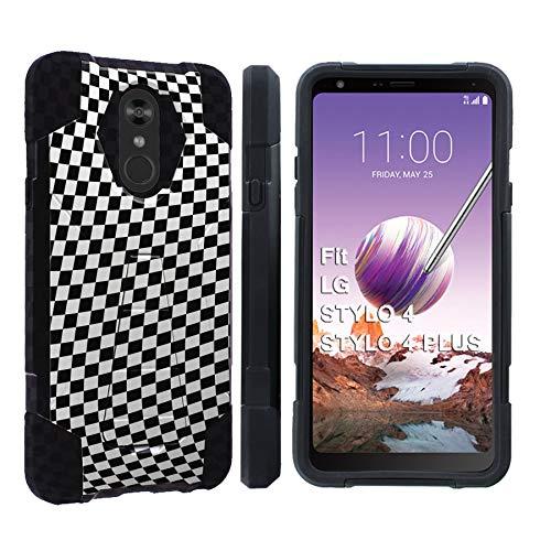 Case Protector Checkers ([Mobiflare] LG Stylo 4 / Stylo 4 Plus [Black] Dual Layer Armor Case [Kickstand] [Checkers Print])