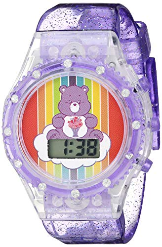 Care Bears Girls' Quartz Watch with Silicone Strap, Purple, 18.5 (Model: CRB4006)