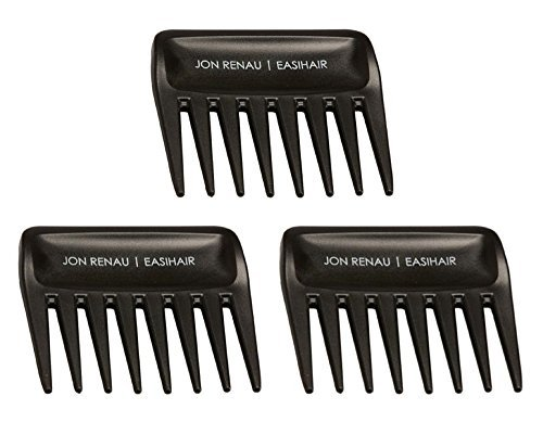 Set of 3 Wide Tooth Combs by Jon Renau & easiHair for Synthetic, Heat Friendly HD Fiber and Human Hair