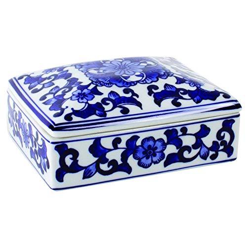 8 Oak Lane Blue Floral Ginger Jar Patterned 5 x 4 Inch Ceramic Decorative ()