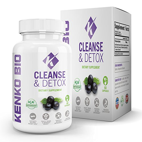 Premium Gentle Body Cleanse & Detox Dietary Supplement By Kenko Bio - Natural Antioxidant Combination Formula For Men & Women - Improve Digestion Colon & Liver Cleanse - Metabolism Boost ()