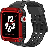 iiteeology Compatible Apple Watch 3 Case, Aluminum Rugged Protective Case with Black Strap Bands for Apple Watch 42mm Series 3 2017/Series 2-Red