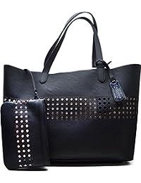 Lauren Ralph Lauren Womens Black White Leighton Large Tote Handbag