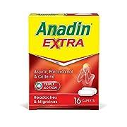 Anadin Extra Aspirin Paracetamol and Caffeine Caplets, Red, 16 count